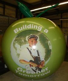 custom graphics on helium advertising balloon
